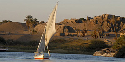Faluca sail boat on the Nile