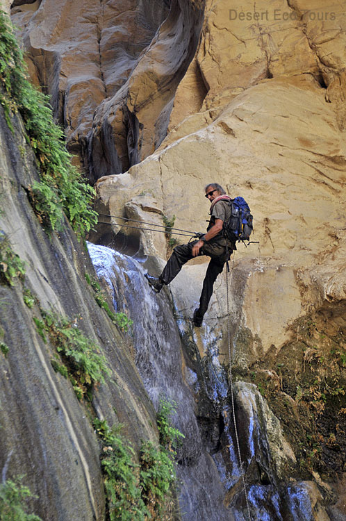 Abseiling in the canyons of Jordan