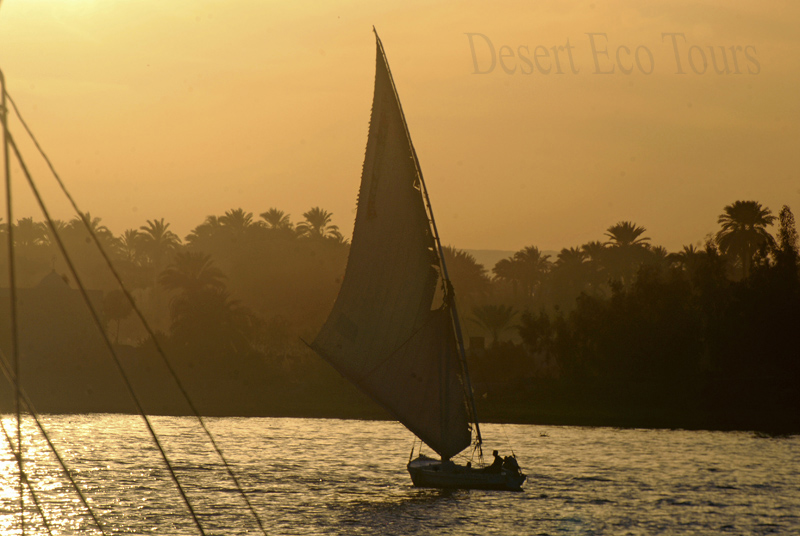 Faluka on the Nile- Luxor, clasicle Egypt